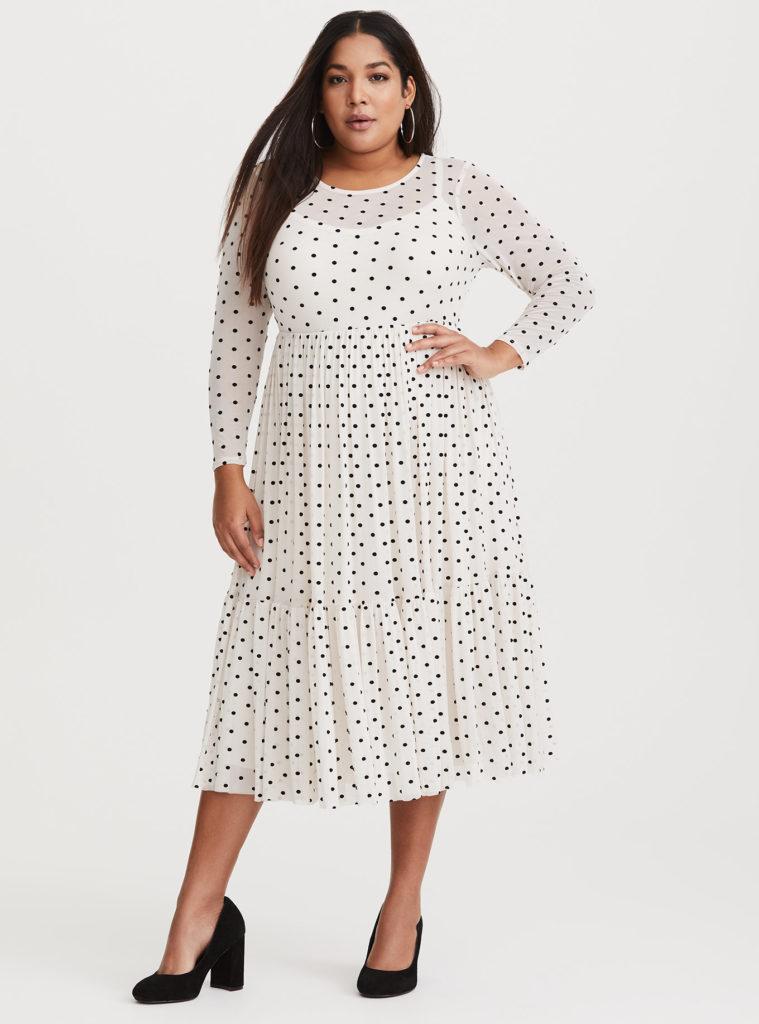 plus size ivory polka dot midi dress