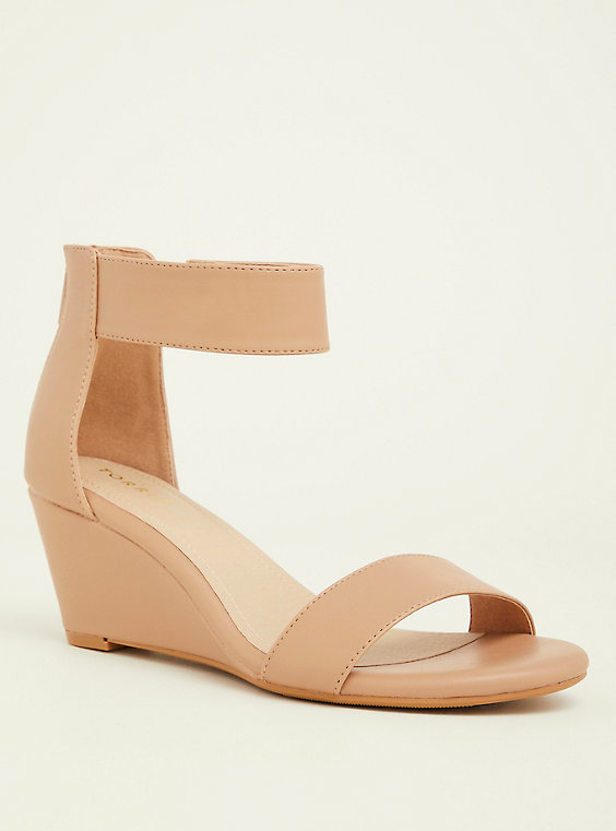 nude color wedge sandal