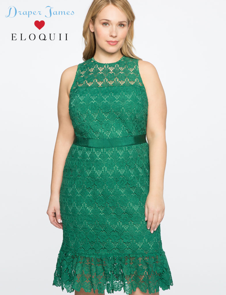 draper james x eloquii green lace dress with sash