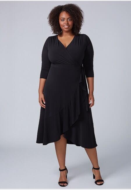 plus size black matte jersey wrap dress