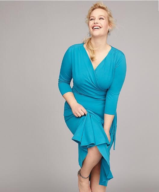 plus size teal blue matte jersey wrap dress