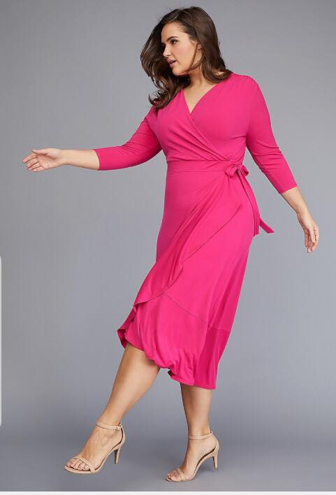 plus size matte jersey hot pink wrap dress