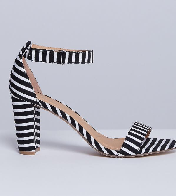 blocked heel ankle strap black and white striped sandals from lane bryant