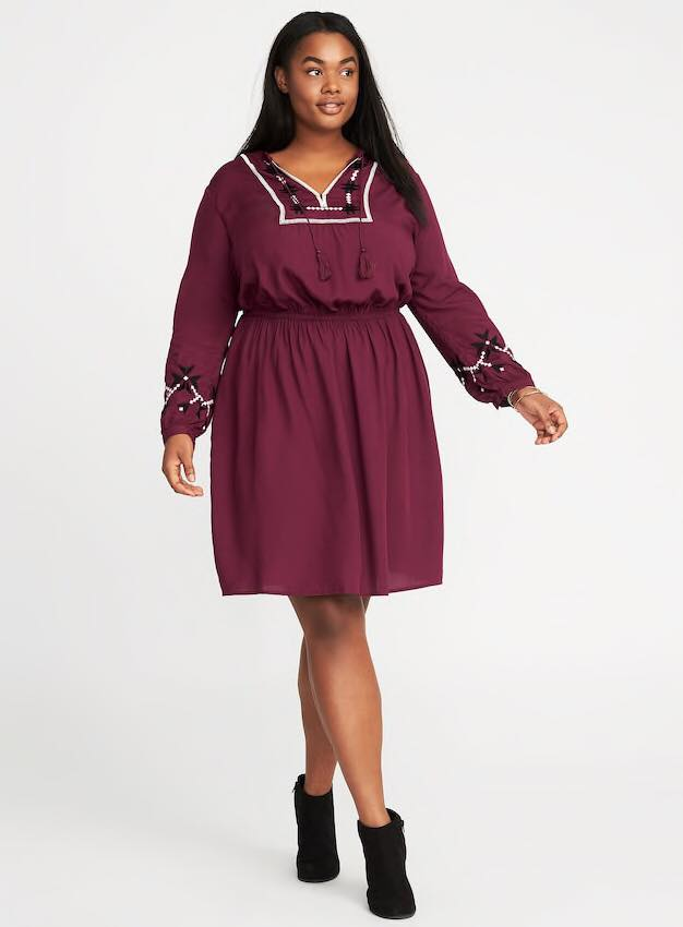 embroidered plus size cinched waist dress from old navy