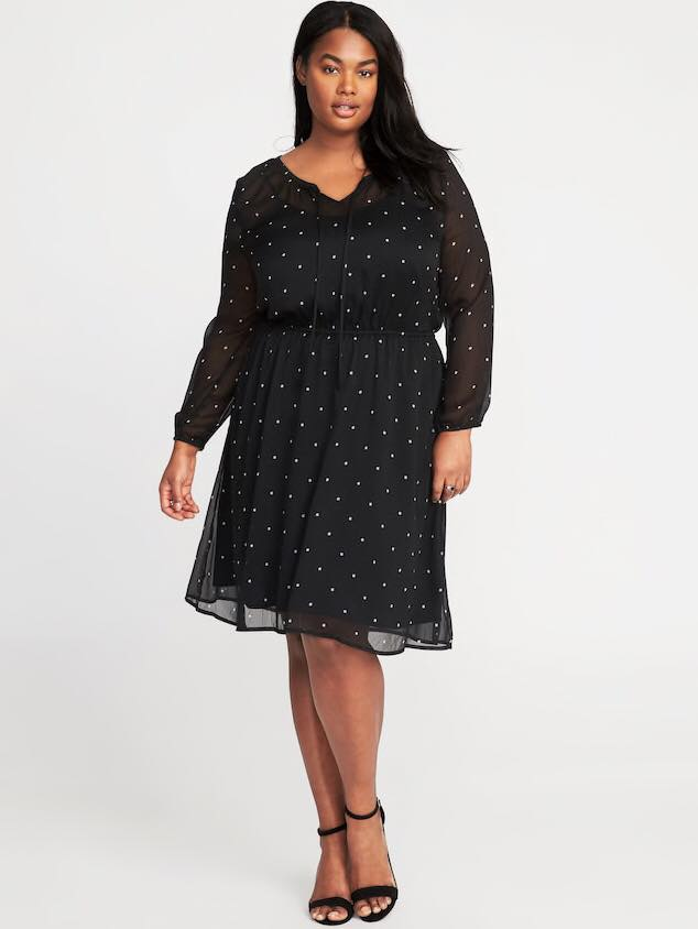 black plus size cinched waist chiffon dress