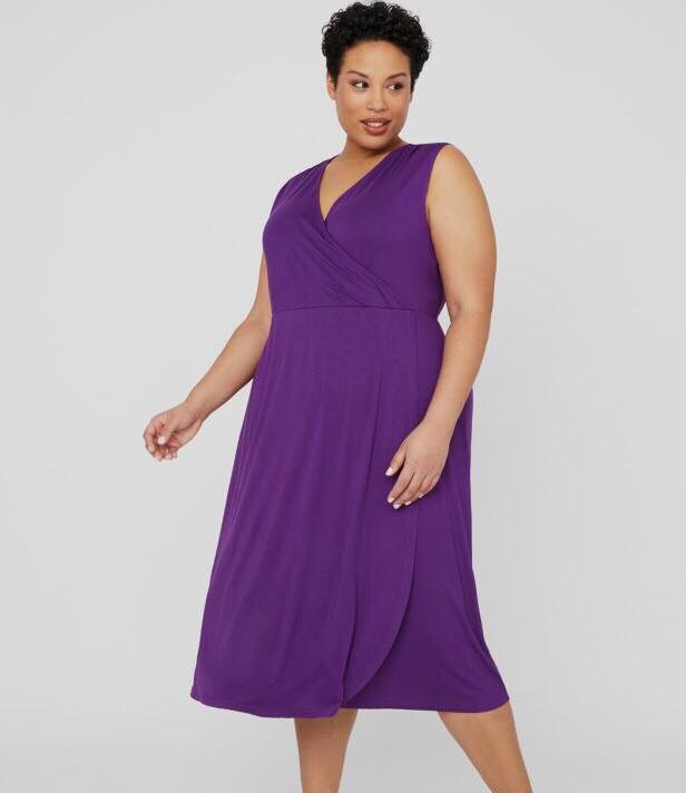 purple plus size wrap dress from Catherines