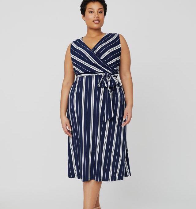plus size navy and white striped dress