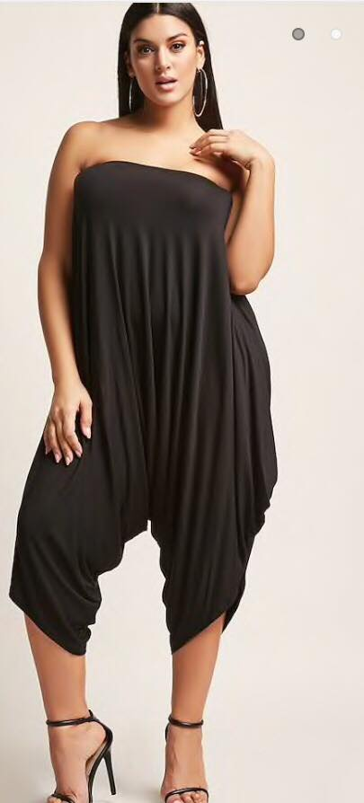 black plus size tube harem jumpsuit