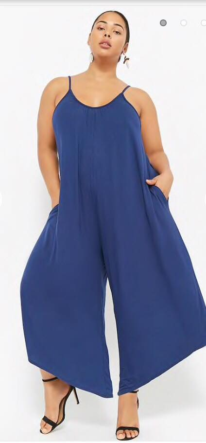 navy plus size relaxed fit culotte jumpsuit