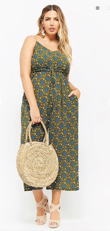 plus size floral drawstring jumpsuit