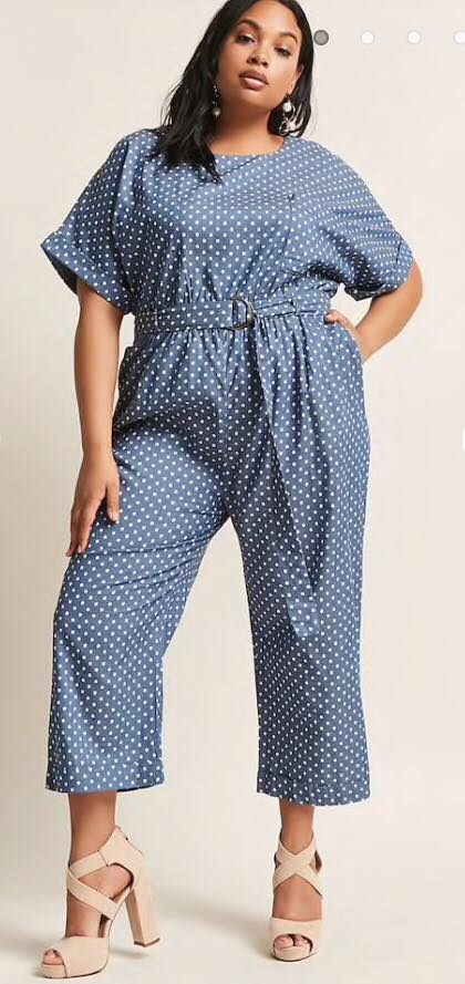 plus size polka dot denim jumpsuit