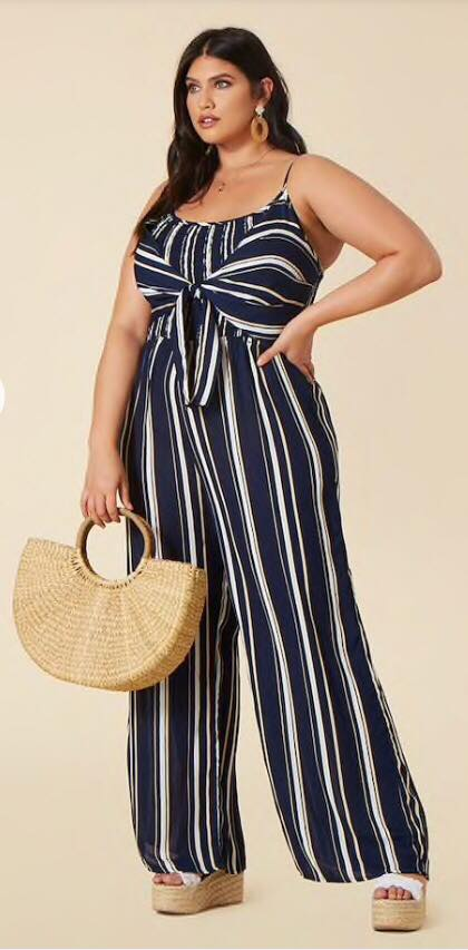 navy and white striped plus size jumpsuit
