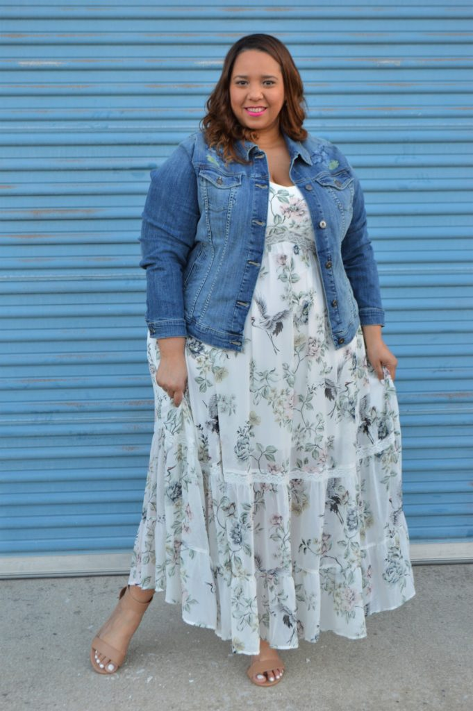 ada2e0a593d Look  11 of 2018  Maxi Dress   Denim Jacket – Estrella Fashion Report