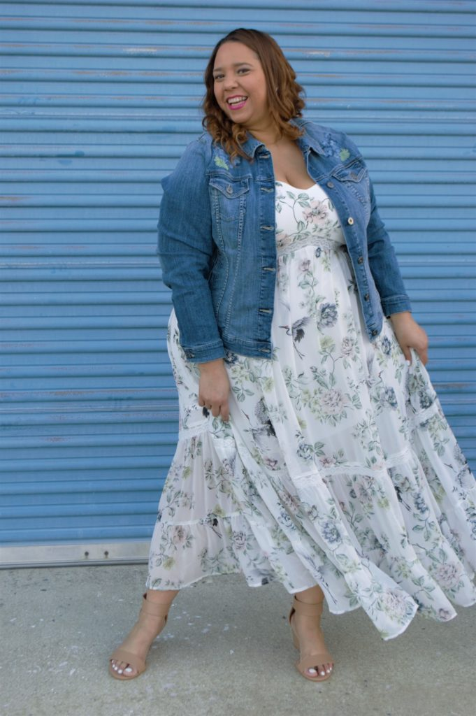 farrah estrella in a tiered plus size maxi dress