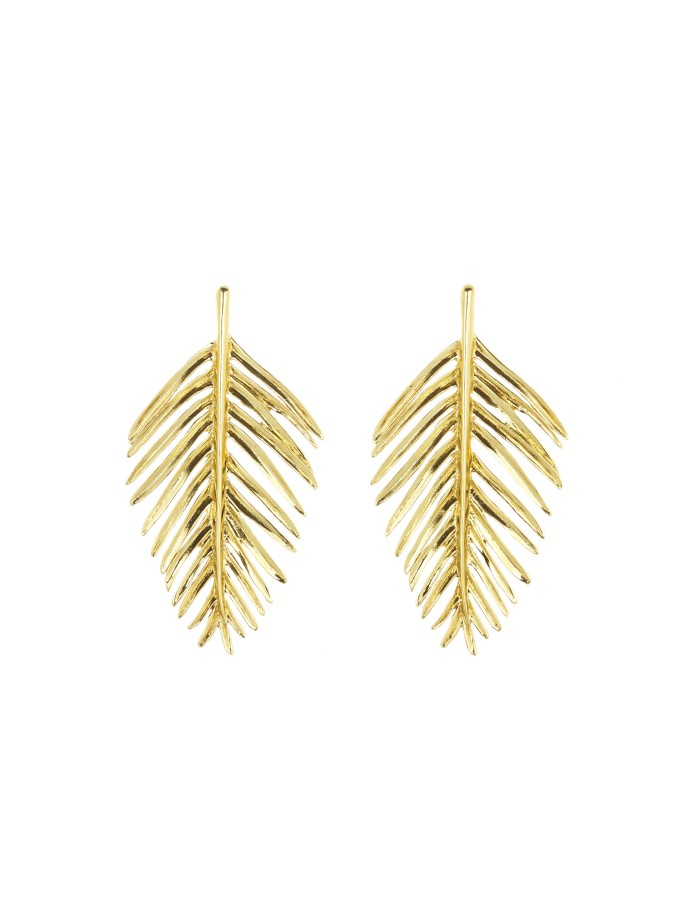 oscar de la renta gold palm leaf earrings