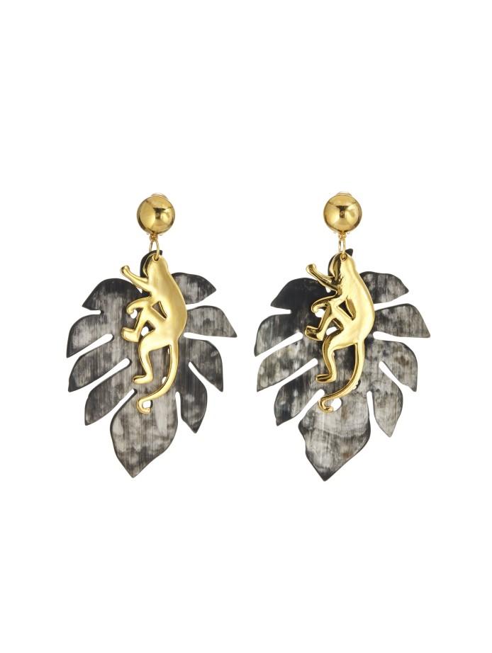 small jungle dark horn earrings from oscar de la renta