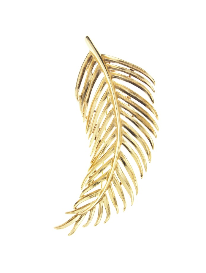 oscar de la renta gold palm leaf brooch