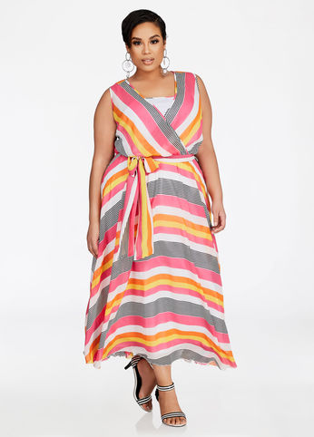 plus size multi striped surplice maxi dress