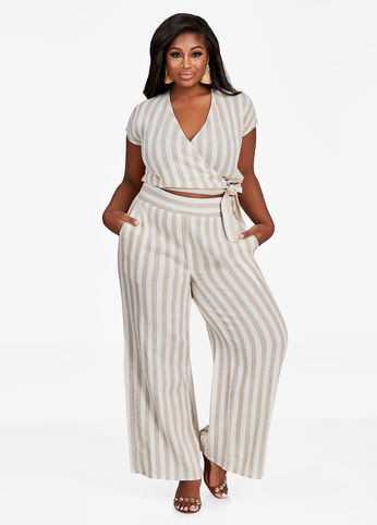 plus size stripe wide leg linen pants and top