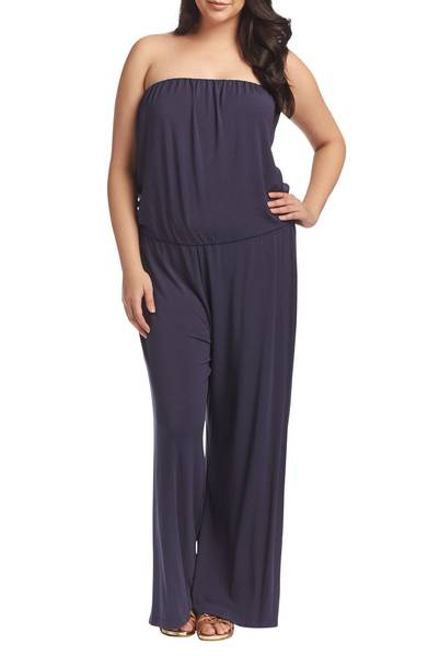 strapless plus size jumpsuit