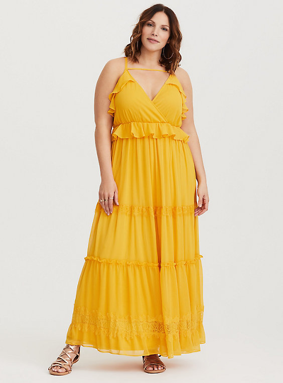 yellow plus size chiffon maxi dress from Torrid