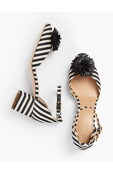 Black & Ivory Pom-Pom Pumps