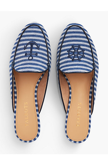 Denim Mules With Anchor Embroidery