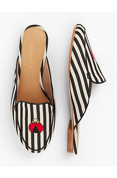 striped mules with ladybug
