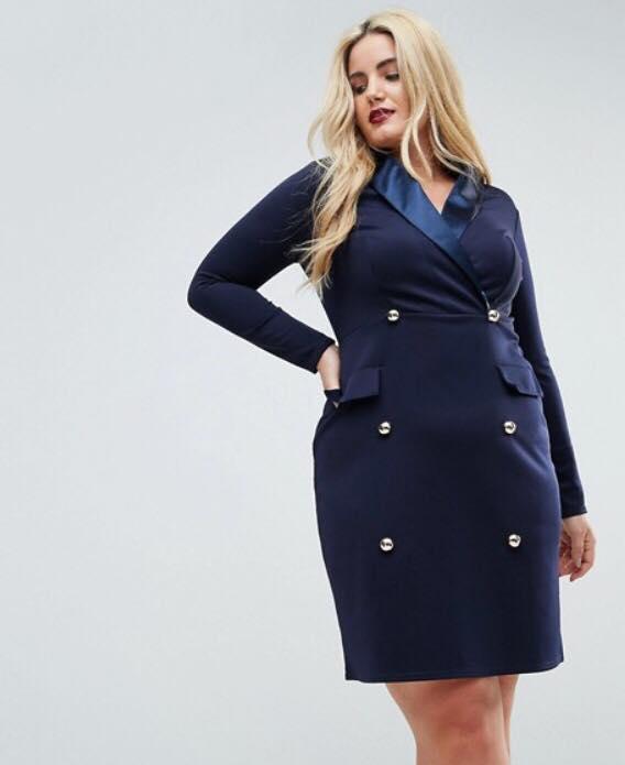 navy plus size tuxedo dress