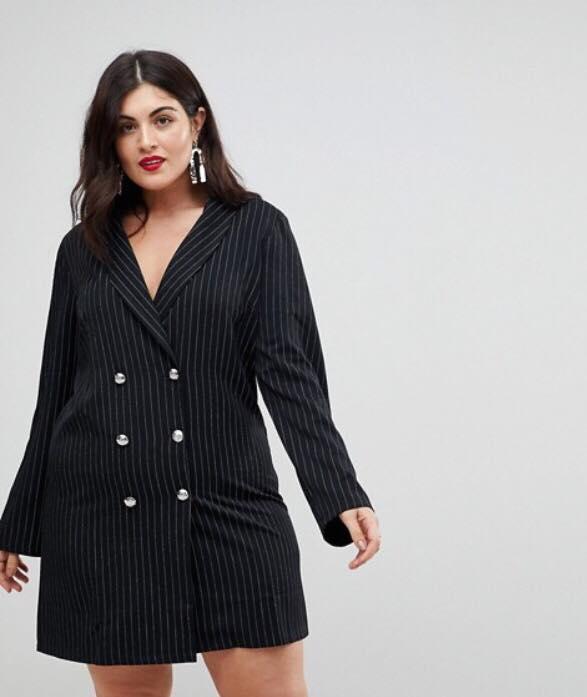 pinstripe plus size tuxedo dress
