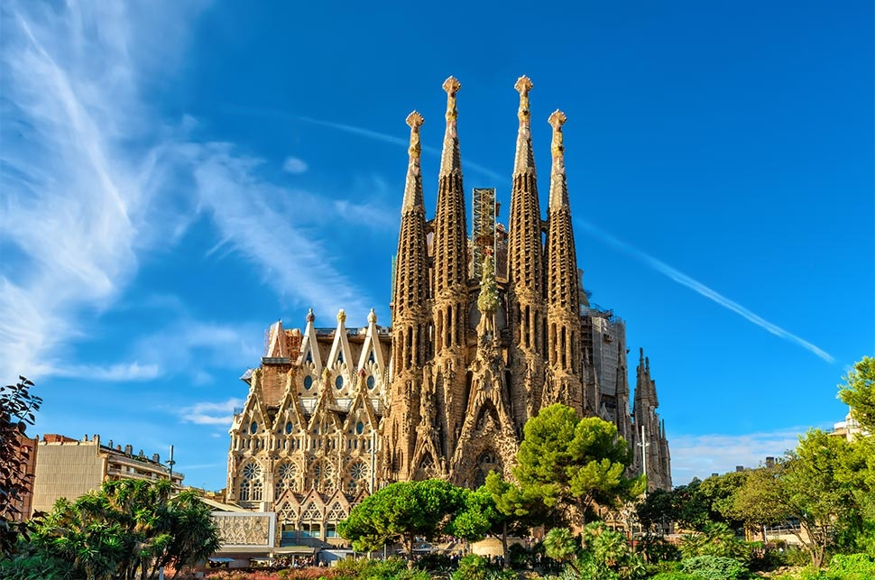 Nativity-facade-of-Sagrada-Familia-cathedral-in-Barcelona-spain