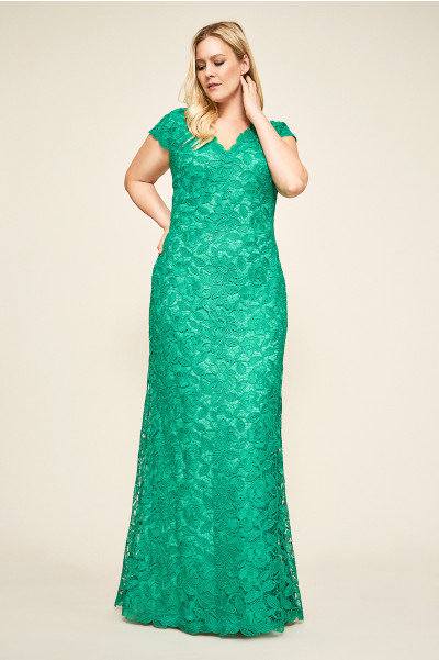 jade plus size lace gown