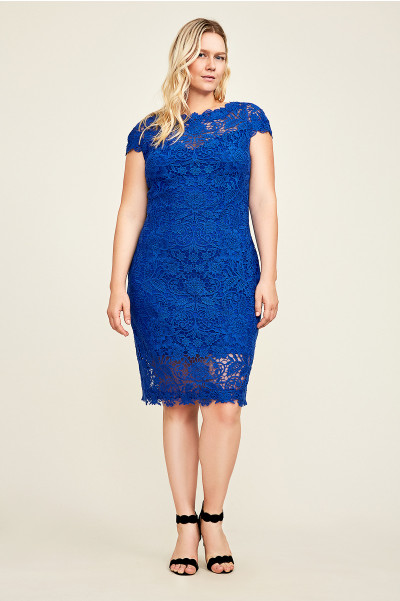 cobalt blue lace plus size dress