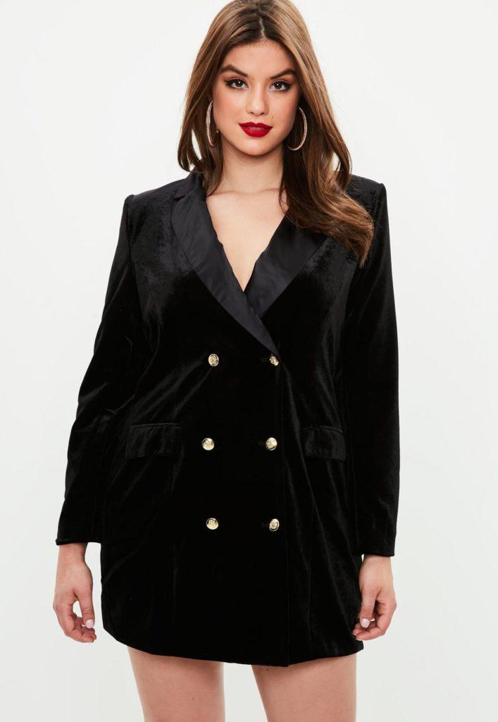 black velvet plus size tuxedo dress