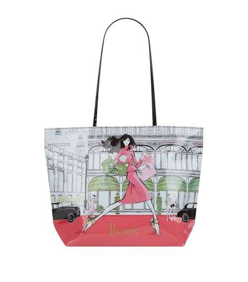 large luxury lifestyle tote bag from megan hess x harrods