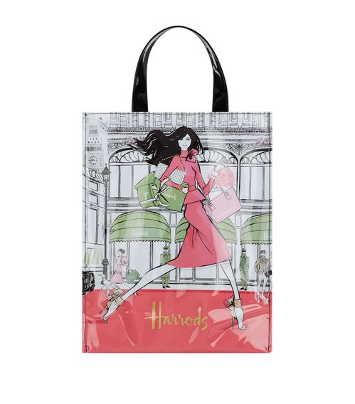medium luxury lifestyle shopper bag by megan hess for harrods in london