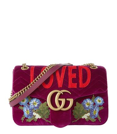 Gucci Medium Velvet Marmont Shoulder Ba