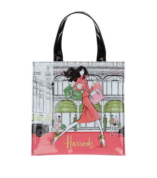 luxury lifestyle shopper bag by megan hess x harrods in london