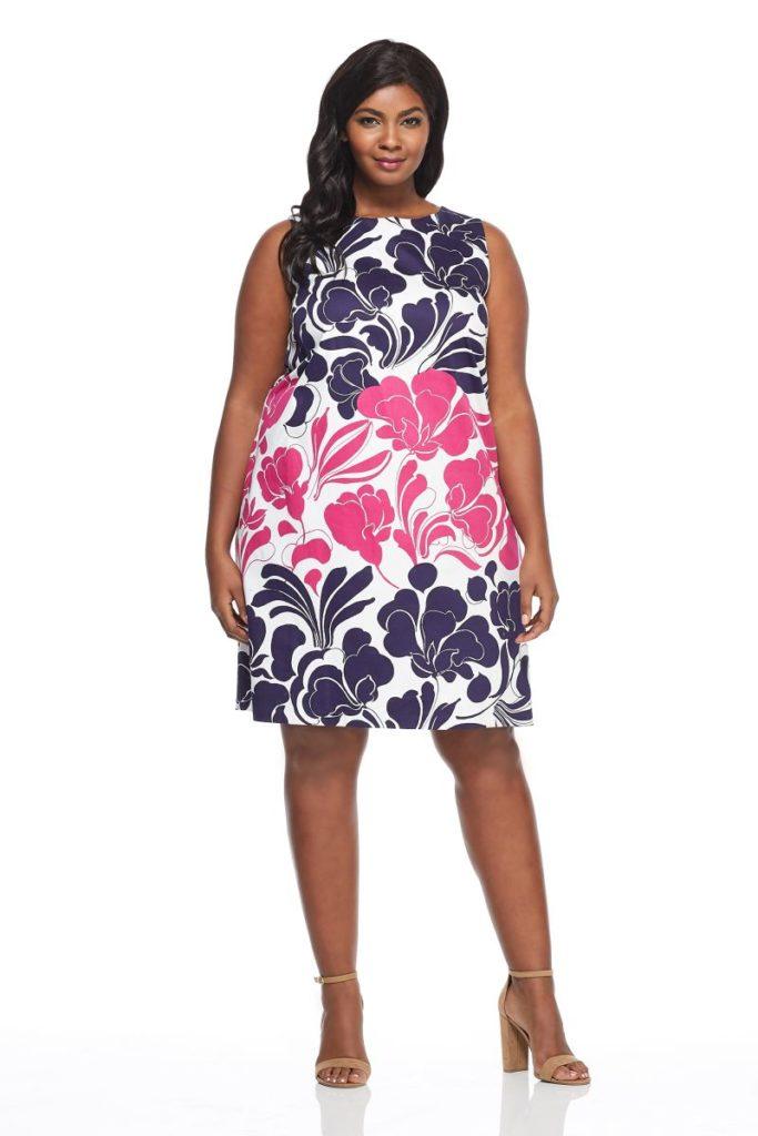 floral plus size shift dress