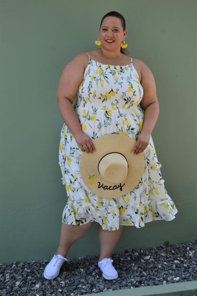 plus size blogger farrah estrella in a lemon print dress