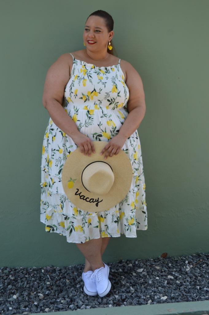 lemon print plus size dress