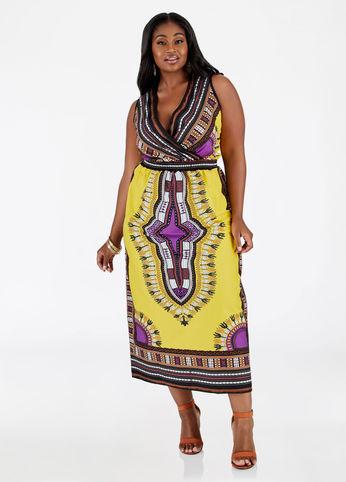 dashiki print plus size maxi dress