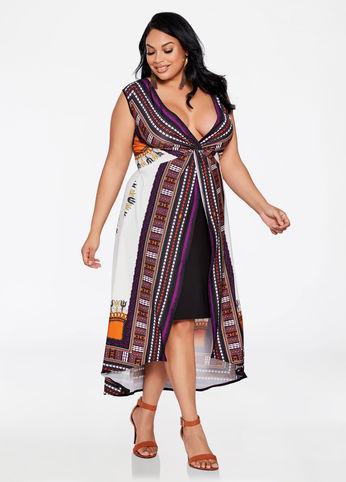 HI LO Dashiki Print Overlay Dress