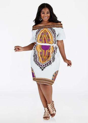 dashiki print plus size off shoulder dress