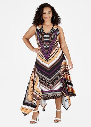sleeveless tribal print dress