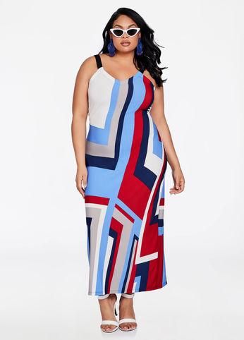 plus size striped geo print dress