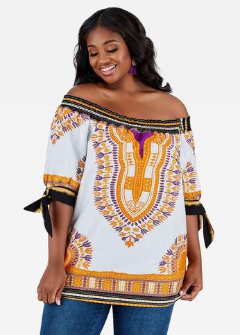 plus size dashiki print blouse