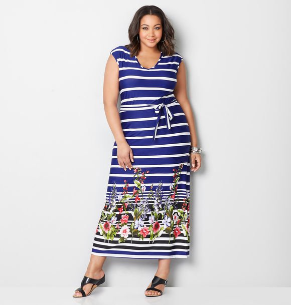 striped floral plus size maxi dress
