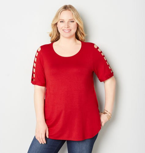 red cage sleeve tee