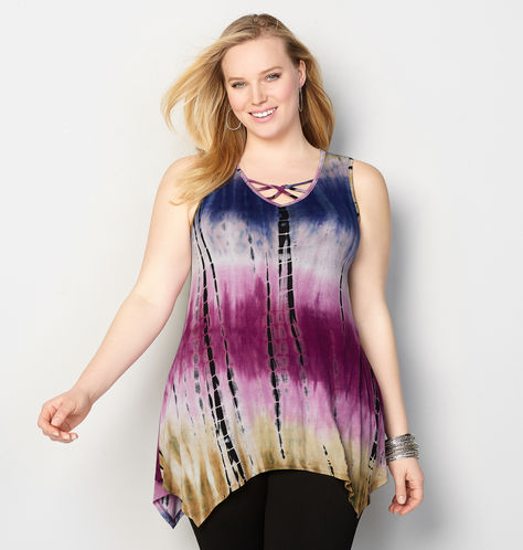 ombre tie dye caged top